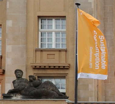 SuCo11 flag in front of Curiohaus Hamburg